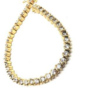 Vintage 14K Yellow Gold Plated CZ Bracelet